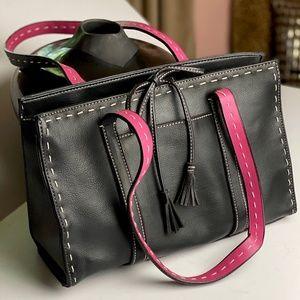 LIZ CLAIBORNE Women's Black Leather Shoulder Bag